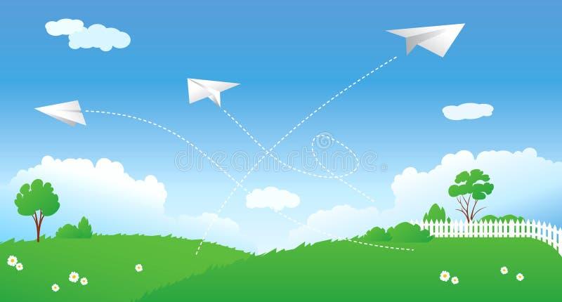 Download Scene with paper planes stock vector. Image of gradient - 8239990