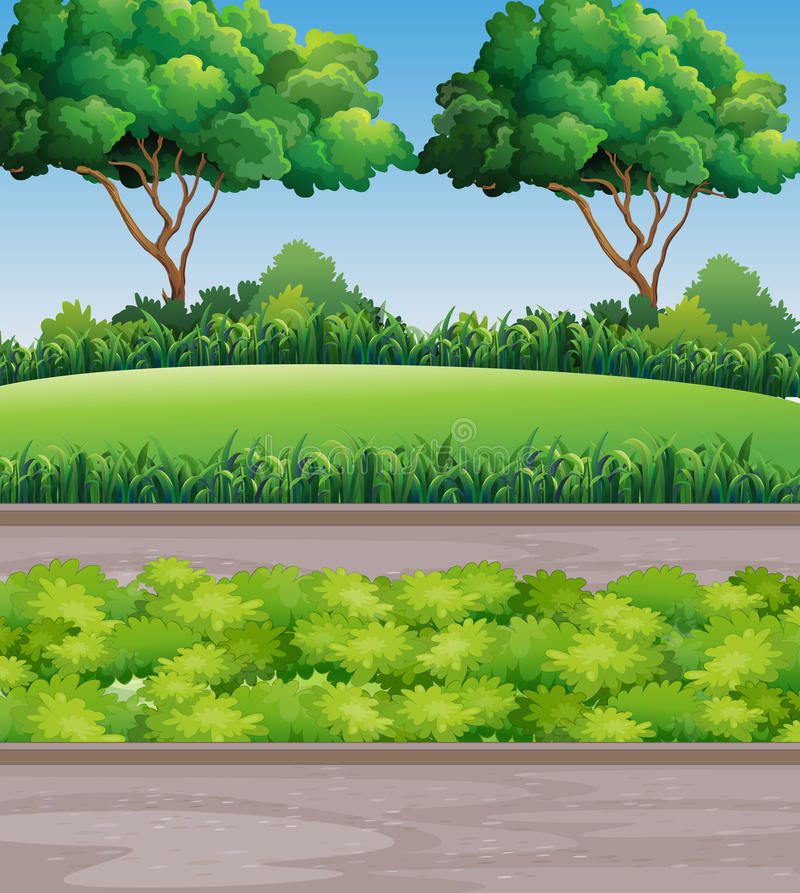 Scene at park with lawn and trees. Illustration vector illustration