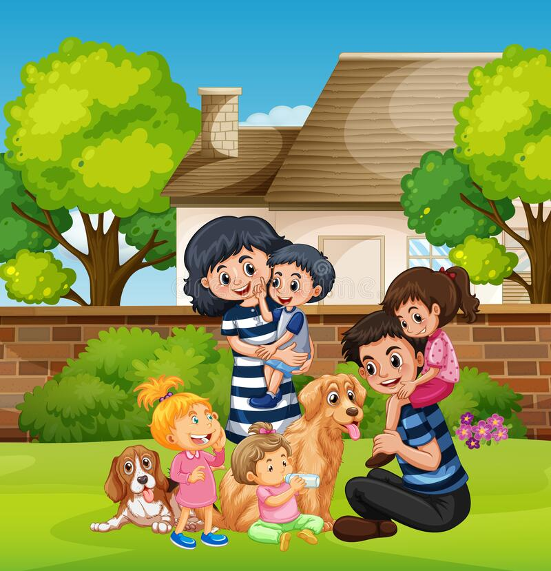Scene with people staying at home with family stock photography