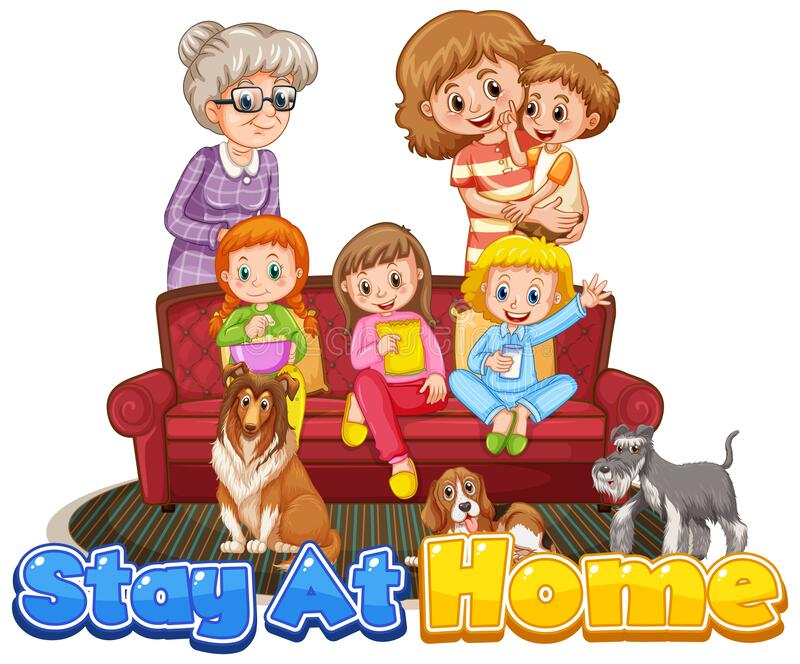 Scene with people staying at home with family stock images
