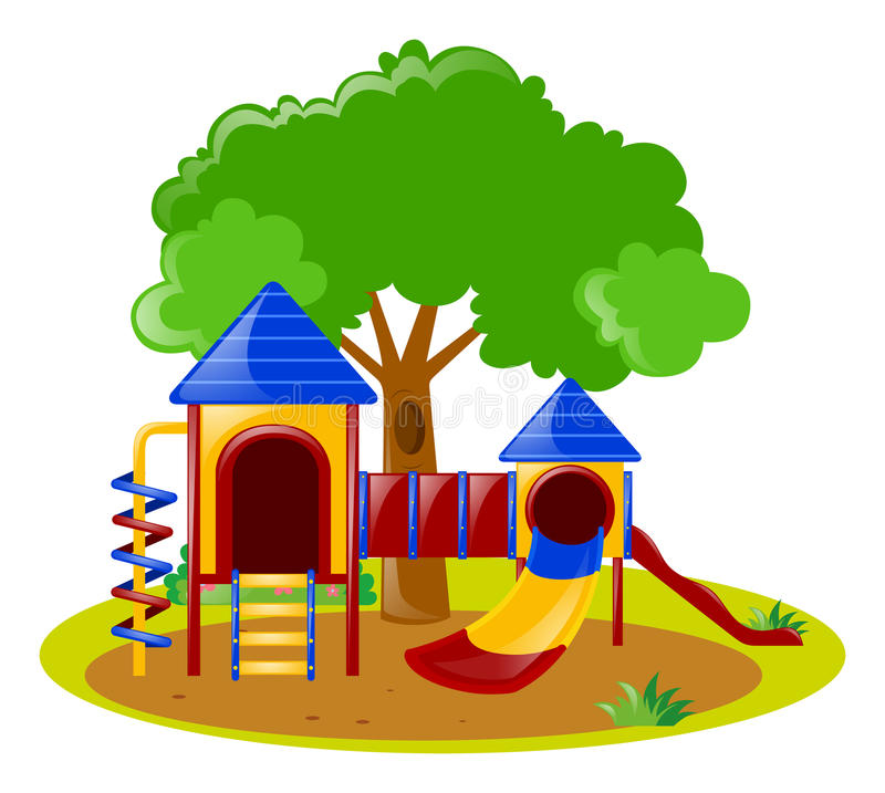 Scene with playground in park stock illustration