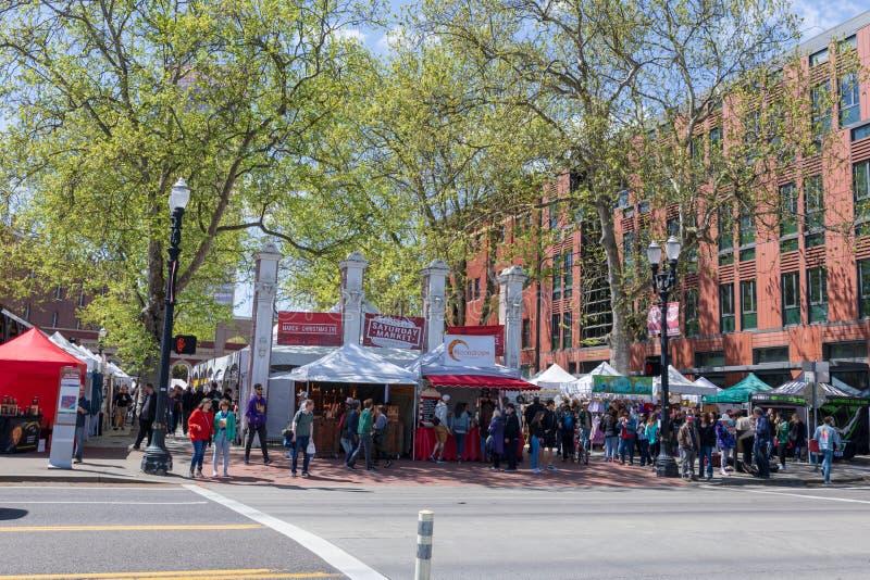 Scene of Portland Saturday Market at Waterfront park along Willamette riverside in downtown Portland royalty free stock image
