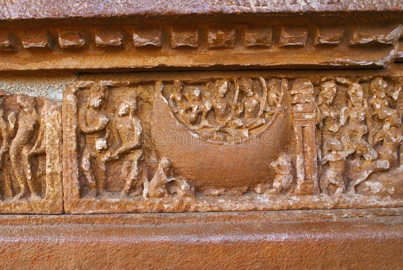 Scene from Ramayana carved on the plinth, Durga temple, Aihole, Bagalkot, Karnataka. The Galaganatha Group of temples. Rama, Sita. Scene from Ramayana carved on royalty free stock images