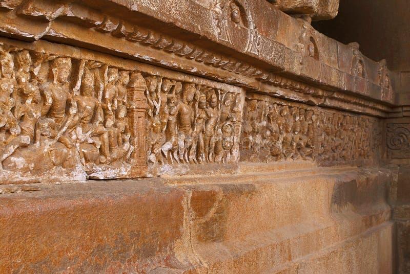 Scene from Ramayana carved on the plinth, Durga temple, Aihole, Bagalkot, Karnataka. The Galaganatha Group of temples. Scene from Ramayana carved on the plinth royalty free stock photos