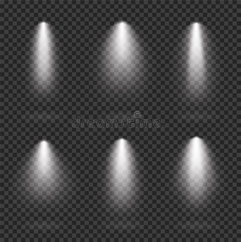 Scene realistic illumination collection, transparent effects. Bright lighting with spotlights - stock vector vector illustration