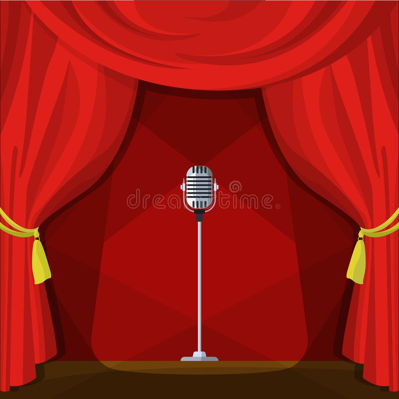 Download Scene With Red Curtains And Retro Microphone Vector Illustration In Cartoon Style Stock