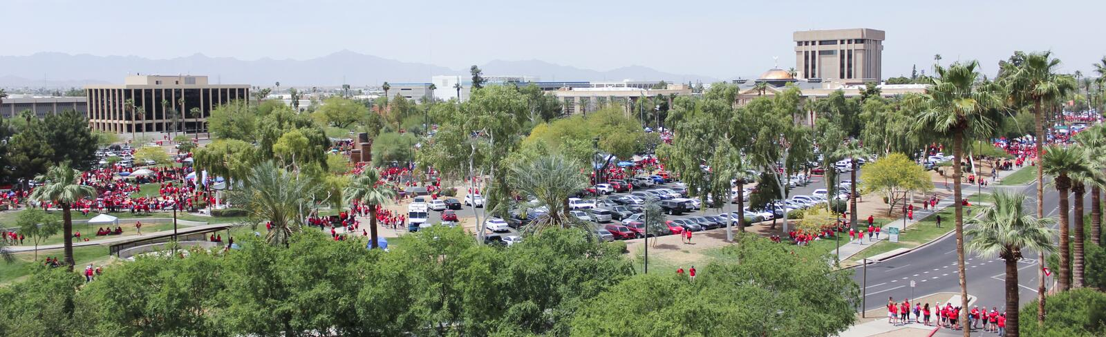 A Scene from the 2018 Red for Ed Teacher Strike in Arizona. PHOENIX, ARIZONA, MAY 30. The State Capitol Building on May 30, 2018, in Phoenix, Arizona. A Scene royalty free stock photography
