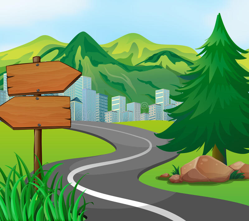 Scene With Road To The City Stock Vector - Illustration of drawing ...