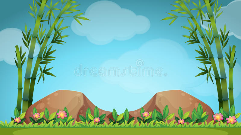 Scene with rocks and bamboo royalty free illustration