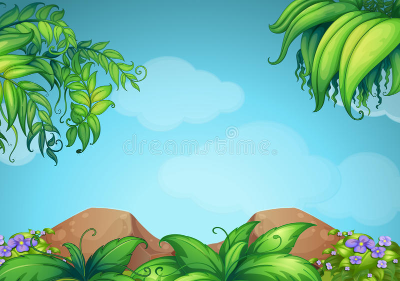 Scene with rocks and vine royalty free illustration