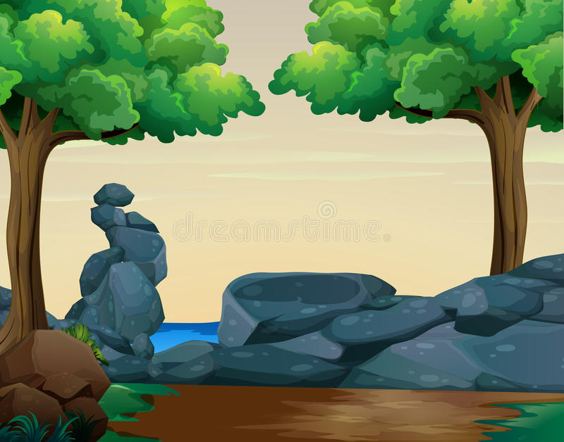 Scene with rocks in the woods vector illustration