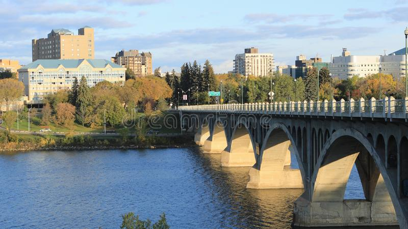 Scene of Saskatoon, Canada downtown by river. A Scene of Saskatoon, Canada downtown by river royalty free stock photography
