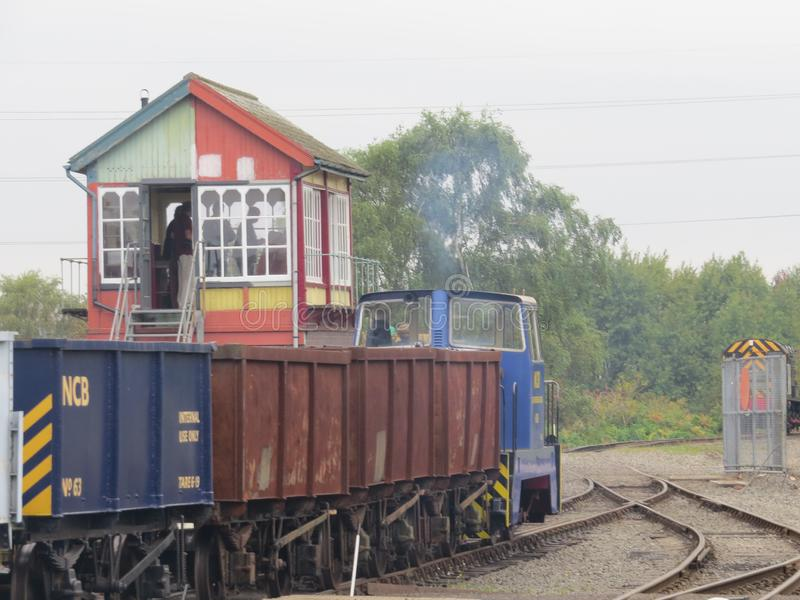 Chasewater Railway, Staffordshire , England, Diesel Shunter shunting the wagons about. The scene shows this small diesel engine on shunting duties in the goods stock image