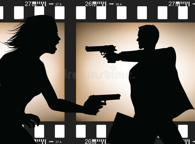 Scene silhouette. Two actor silhouettes in action with filmstrip background vector illustration