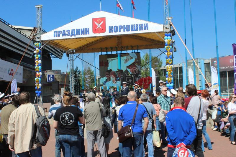 Scene on the sixteenth national smelt fish festival in St. Petersburg. Scene on the sixteenth national smelt fish festival in Saint-Petersburg in 2018, Russia royalty free stock images