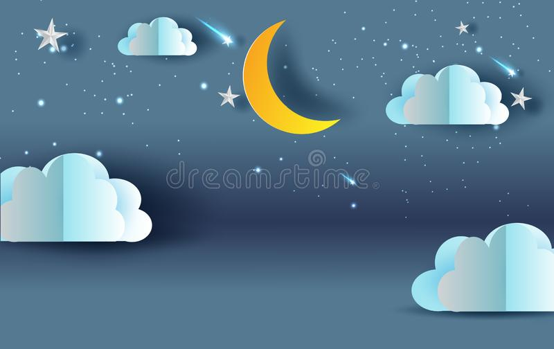 Scene Sky fantasy.Cloud and shooting star on Sky night sweet dream your text space blue dark background.Panorama moon half with stock illustration