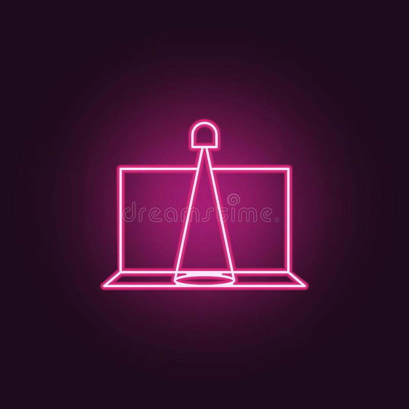 Scene spotlight icon. Elements of Spotlight stage in neon style icons. Simple icon for websites, web design, mobile app, info. Graphics on dark gradient royalty free illustration