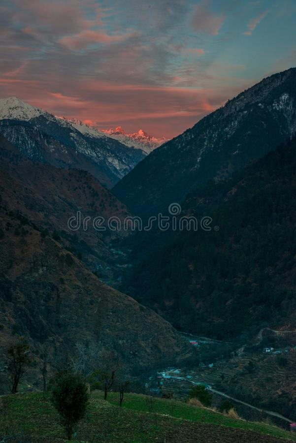 Scene of sunset on Mountain Peaks In Indian Himalaya. Scene of sunset on Mountain Peaks royalty free stock images