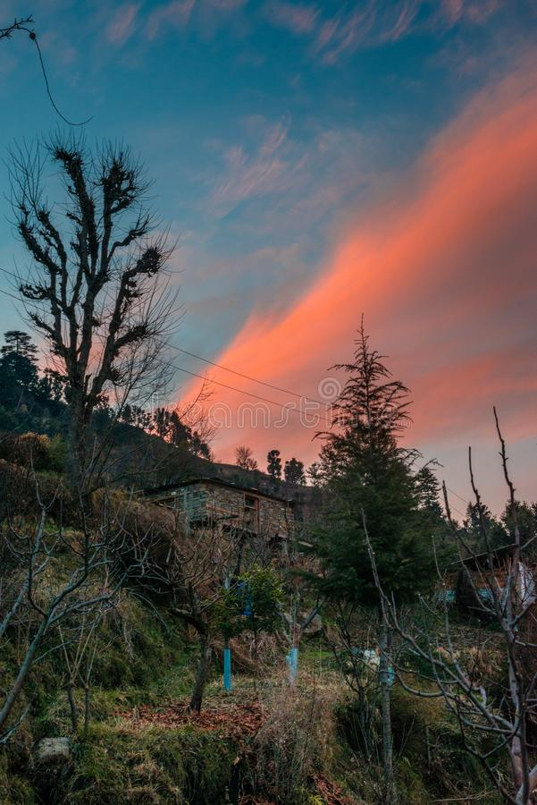 Scene of sunset on Mountain Peaks In Indian Himalaya. Scene of sunset on Mountain Peaks stock photo