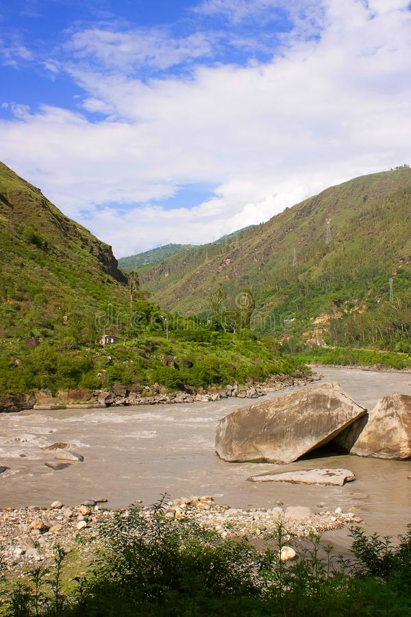 Scene at Sutlej river. Longest of the five tributaries of the Indus River. Himachal Pradesh, India royalty free stock photos