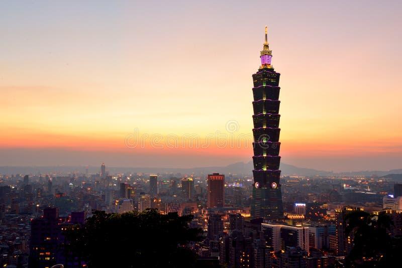 Scene Taipei di notte Taipei101 immagine stock