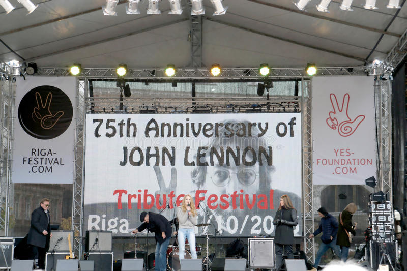 On the scene 75th Anniversary of John Lennon festival in Riga. On the scene of the Tribute festival 75th Anniversary of John Lennon in Riga, Latvia stock image