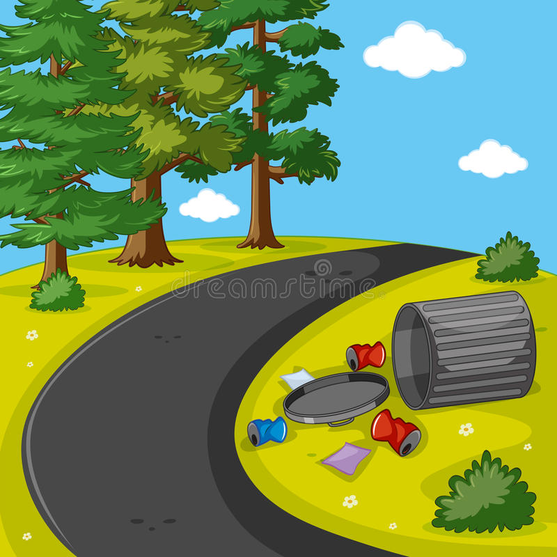 Scene with trash in the park royalty free illustration