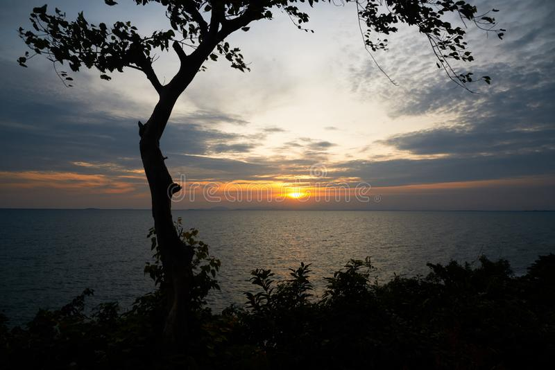 Scene of tree and sunset from queen nang hill view point. Chanthaburi province, Thailand royalty free stock photo