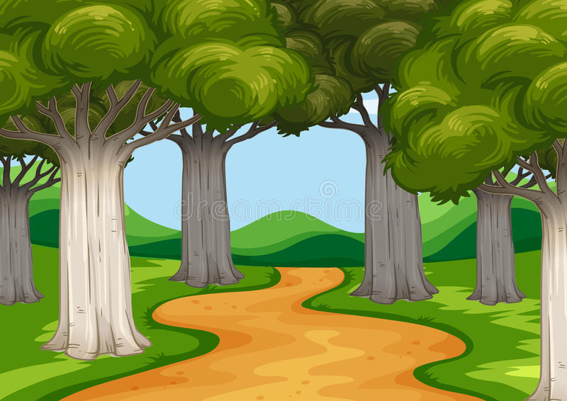Scene with trees along the road stock illustration