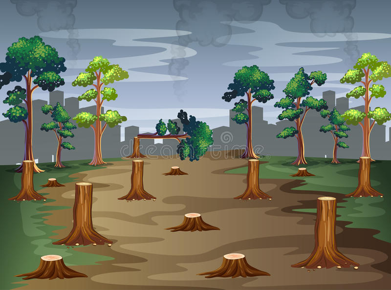 Scene with trees being chopped vector illustration