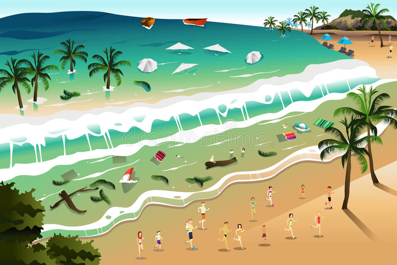 Scene of Tsunami. A vector illustration of giant tsunami waves crashing beach stock illustration