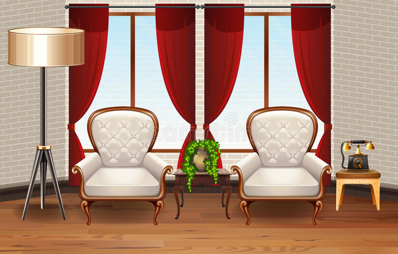 Scene with two armchairs in the room. Illustration royalty free illustration