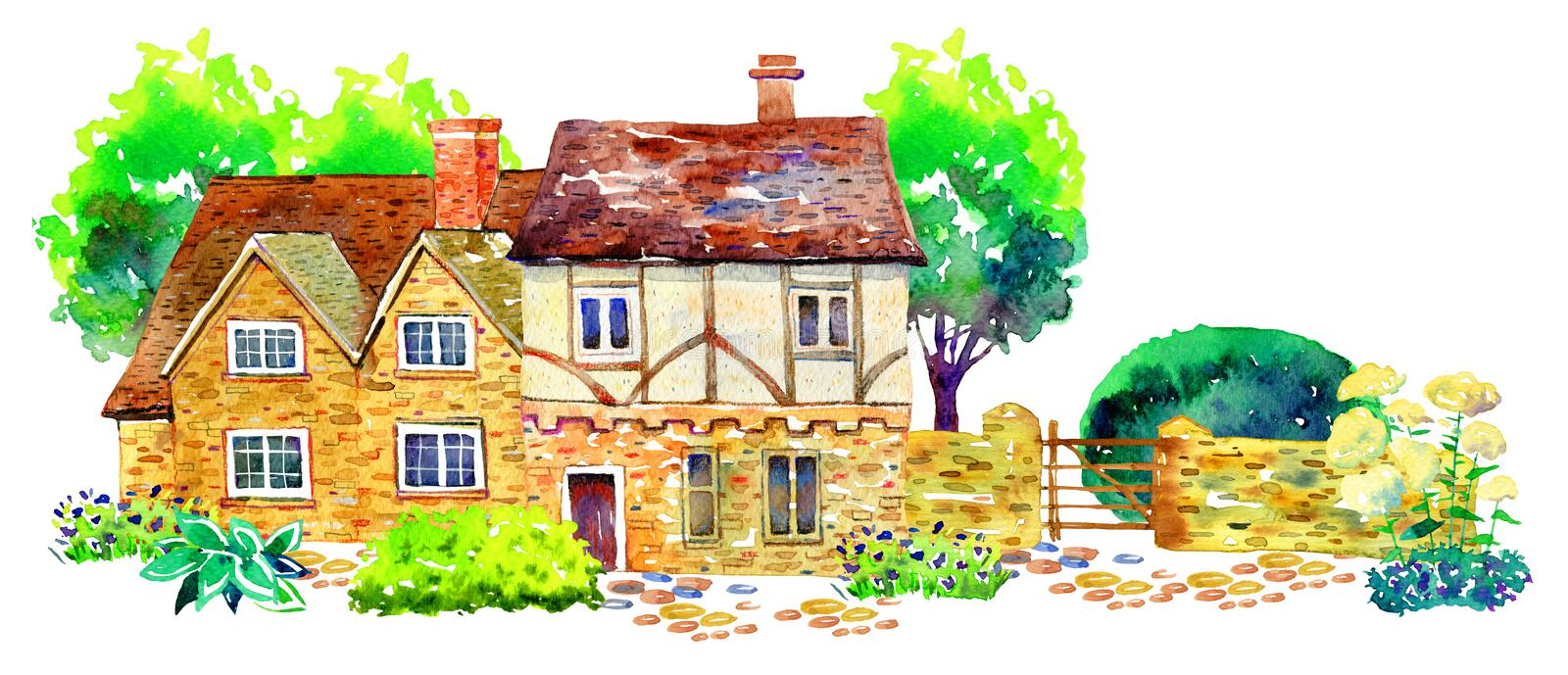 Scene with two countryhouses, fence, trees, bushes and plants. Watercolor old stone europe house. Hand drawn illustration royalty free illustration