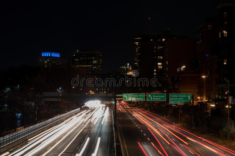 Scene of two-sided highway with beautiful lights at night in Downtown Boston. A scene of two-sided highway with beautiful lights at night in Downtown Boston stock photography
