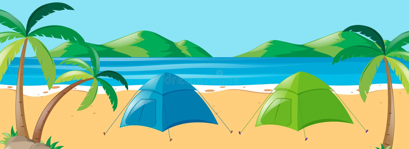 Scene with two tents on the beach. Illustration royalty free illustration