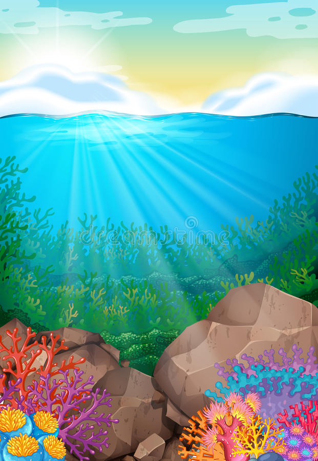 Scene with view under the ocean stock illustration
