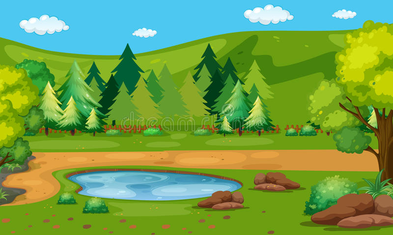 Scene with waterhole in the park vector illustration
