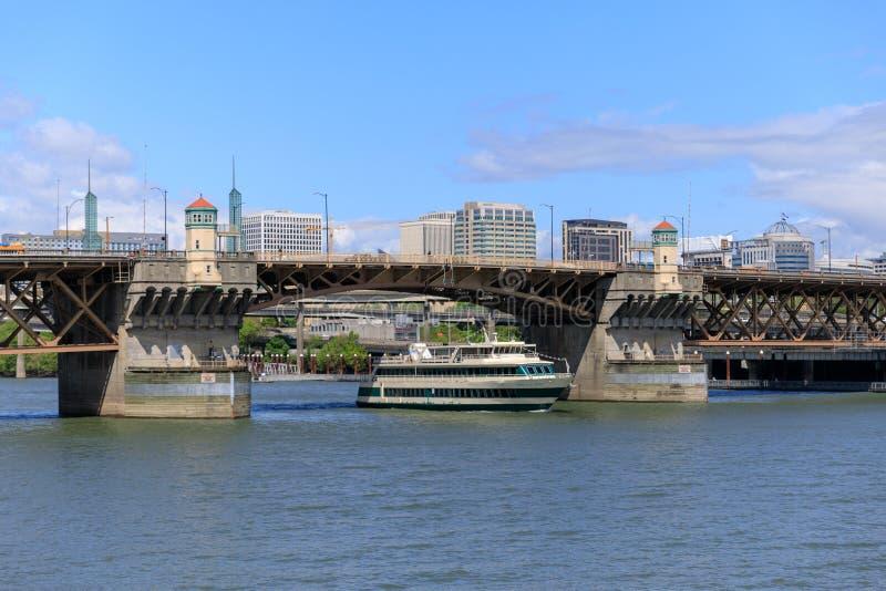 Scene of Willamette river in downtown Portland. Portland, Oregon - April 27, 2019 : Scene of Willamette river in downtown Portland stock photography
