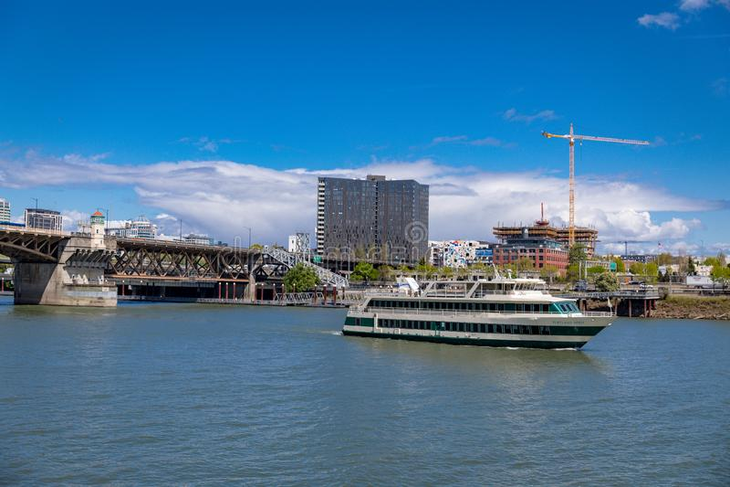 Scene of Willamette river in downtown Portland. Portland, Oregon - April 27, 2019 : Scene of Willamette river in downtown Portland royalty free stock photos