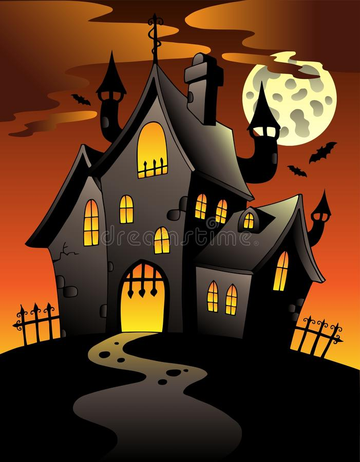 Free Scene With Halloween Mansion 1 Royalty Free Stock Image - 20146426