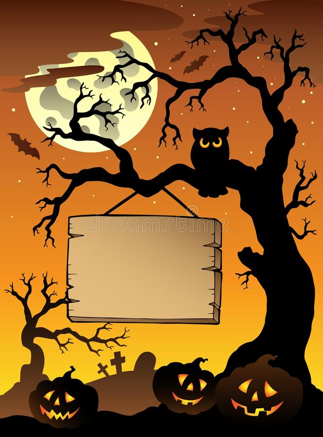 Free Scene With Halloween Tree 1 Royalty Free Stock Photo - 20207995