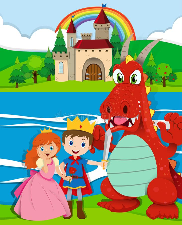 Free Scene With Prince And Princess By The River Royalty Free Stock Photo - 107377055