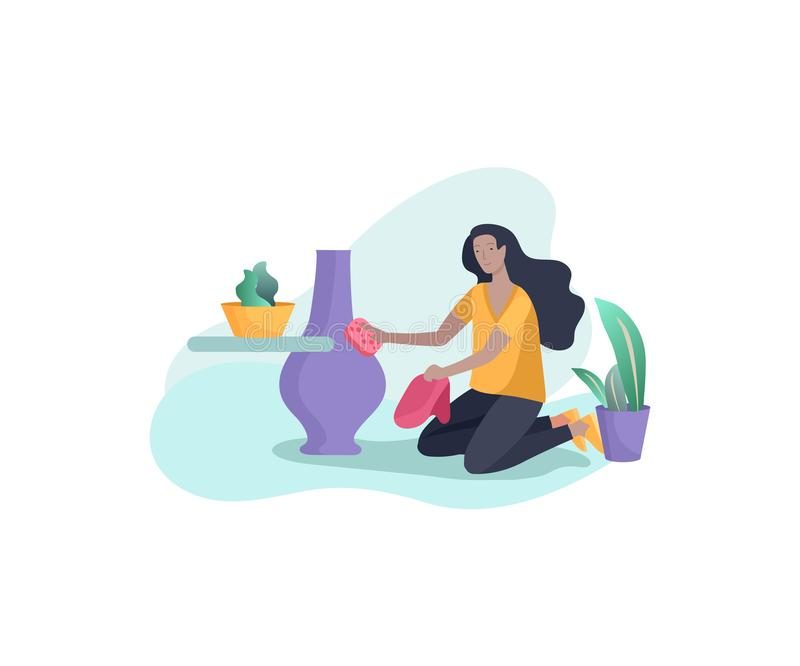 Scene with woman doing housework, home cleaning, washing dishes, wipe dust, water flower. Vector illustration cartoon. Style vector illustration