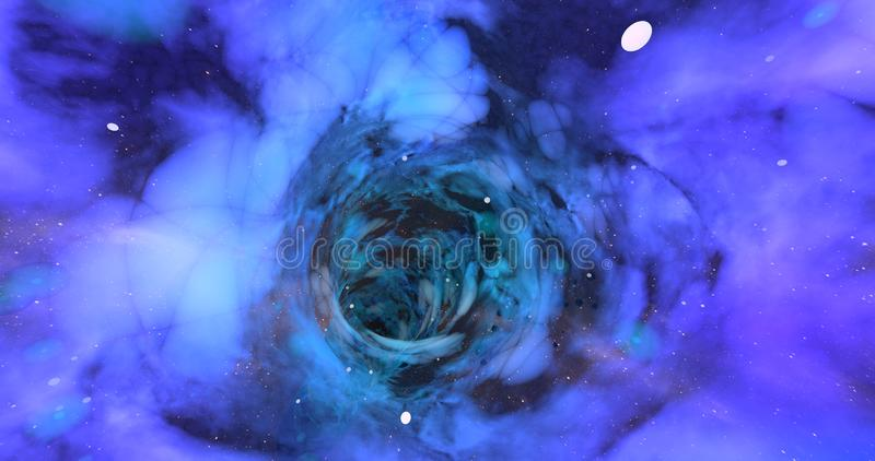 A scene of a wormhole. A scene of a wormhole on a vast universe royalty free illustration