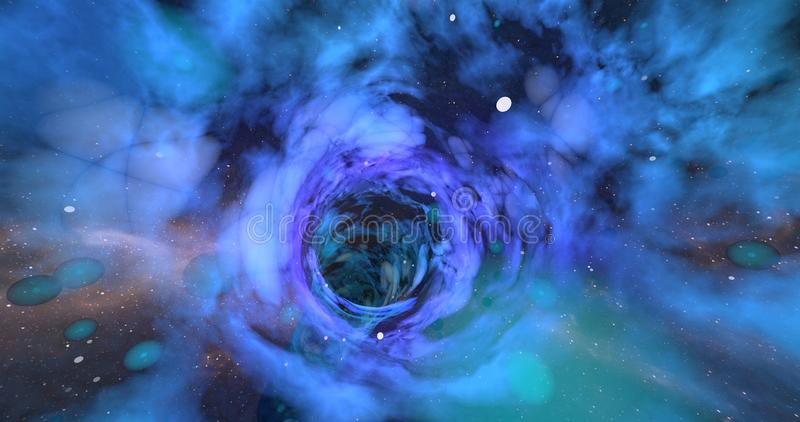A scene of a wormhole. A scene of a wormhole on a vast universe vector illustration