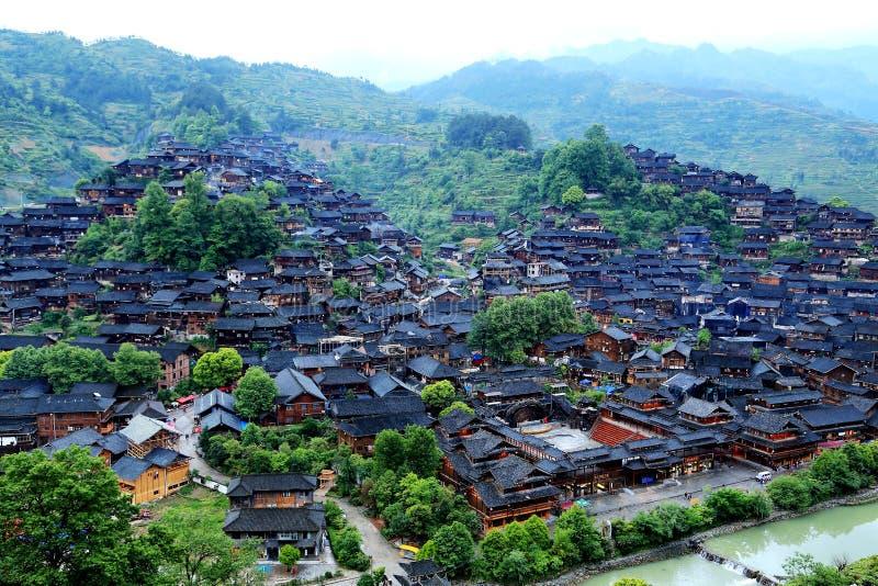 The scene of Xijiang Miao minority village stock photos