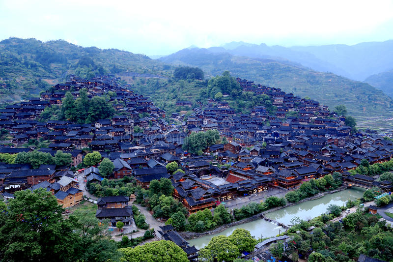 The scene of Xijiang Miao minority village. In Leishan county,Guizhou province of china royalty free stock images