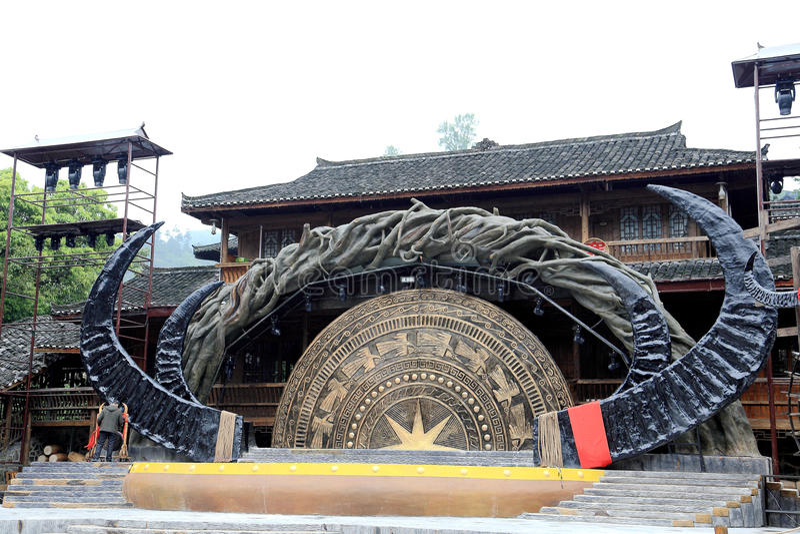 The scene of Xijiang Miao minority village. In Leishan county,Guizhou province of china stock photo