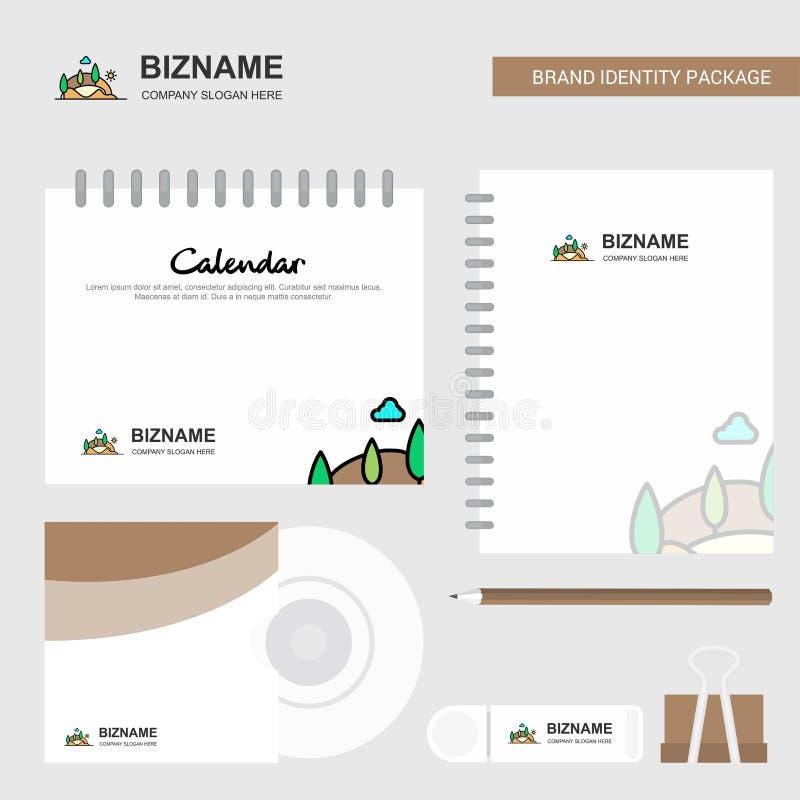 Sceneria logo, Kalendarzowy szablon, cd pokrywa, dzienniczek i USB gatunek pakunku projekta wektoru Stacjonarny szablon, ilustracja wektor