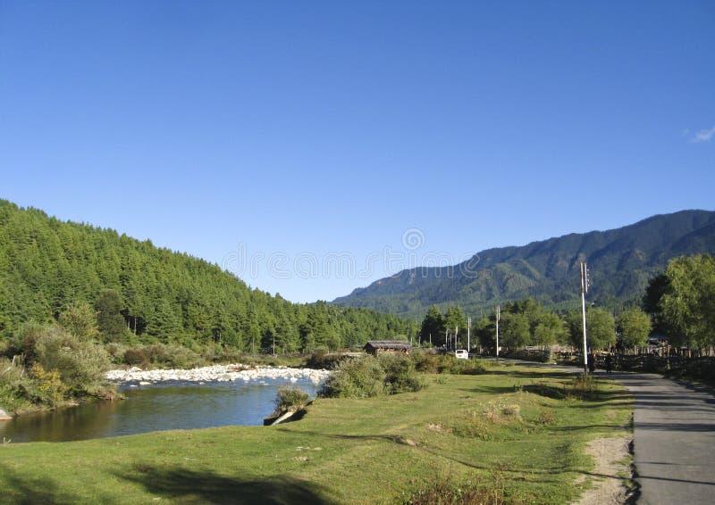 Sceneria od Środkowego Bhutan przy Jakar, Bumthang fotografia royalty free
